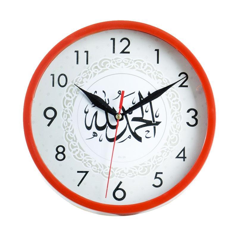 Jam dinding ISL26 Motif Kaligrafi Ring Merah [20cm]