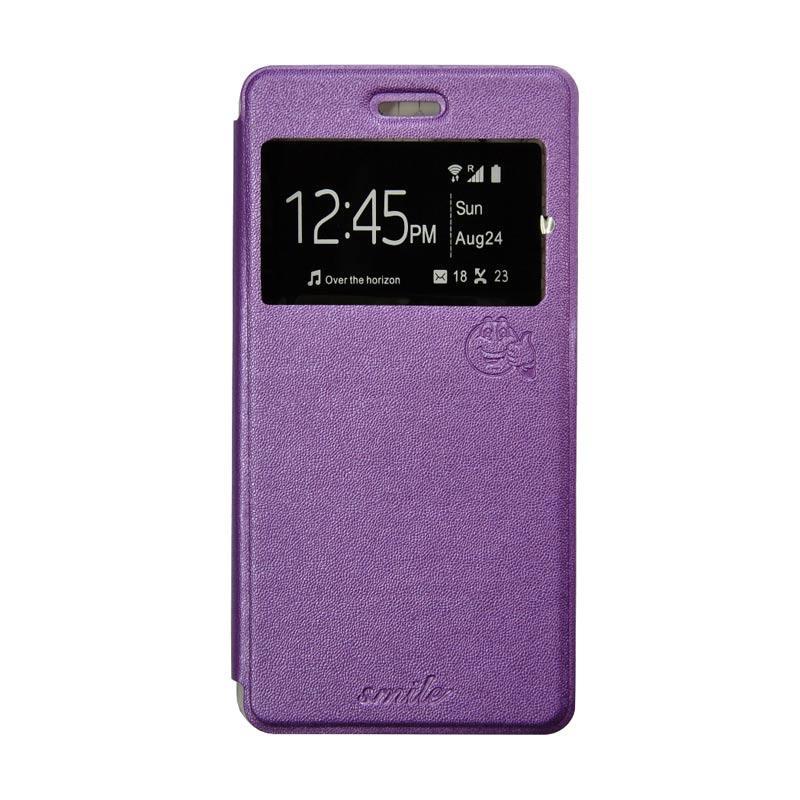 Smile Flip Cover Casing for Oppo Neo 7 A33 - Ungu