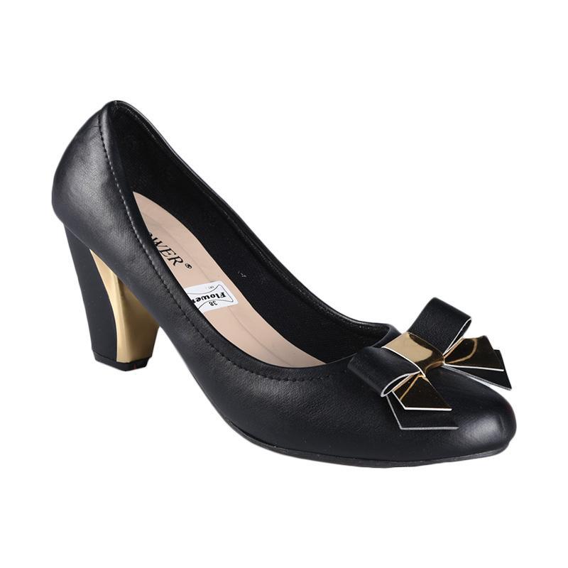 Flower SN-075 High Heels Sepatu Wanita - Hitam