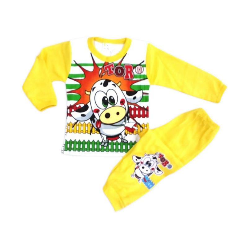 Chloebaby Shop Cow F343 Piyama Setelan Pakaian Anak - Yellow