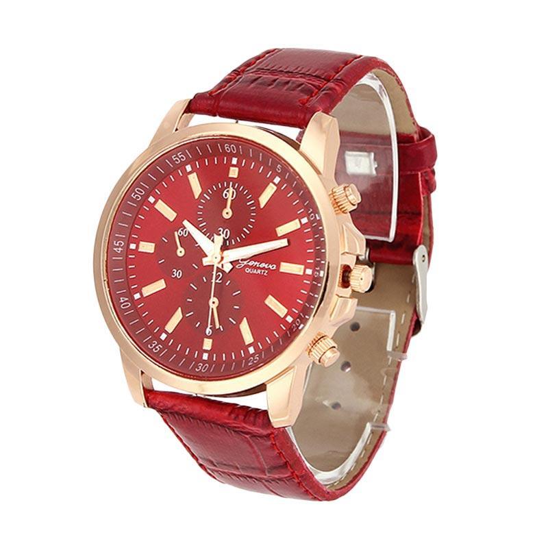 Geneva Motif Kulit SS Jam Tangan Fashion - Red