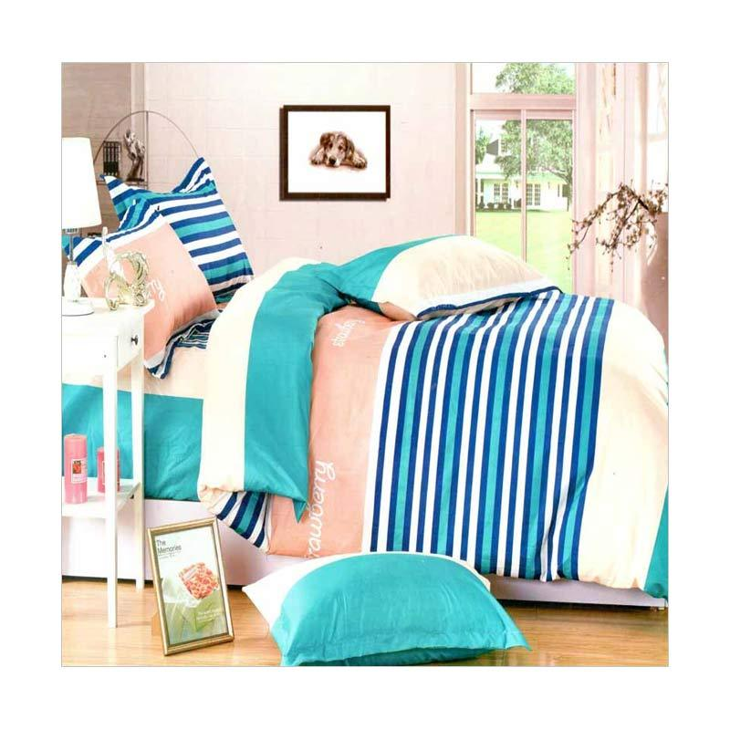 Rosewell A056 Microtex Disperse Set Sprei - Blue Pink