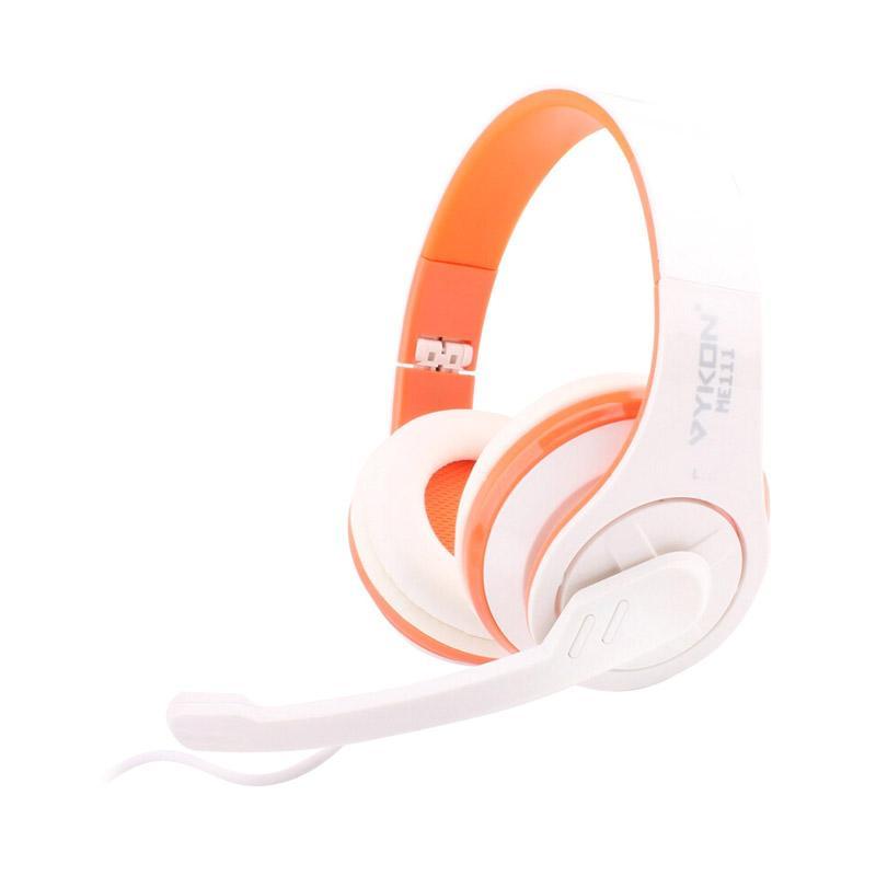 VYKON ME111 Headset - Putih Orange [Jack USB 2.0/Mic]