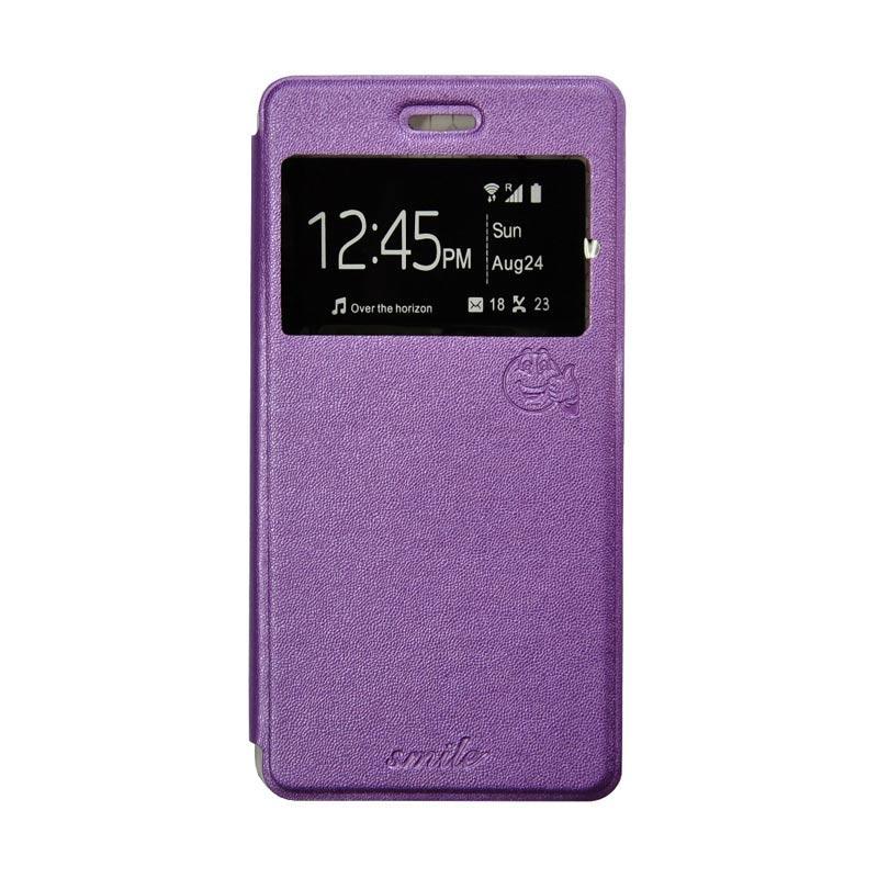 SMILE Flip Cover Casing for Asus Zenfone 3 Laser ZC551KL 5.5 Inch - Ungu