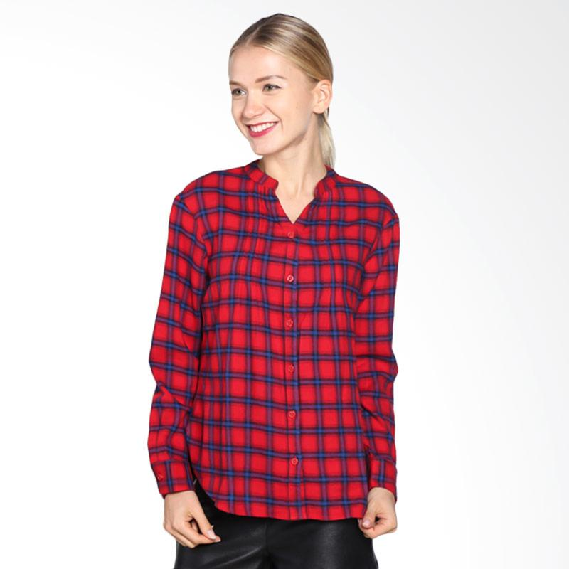 A&D Fashion Ms 21016- 621 Long Sleeve Blouse - Red Check