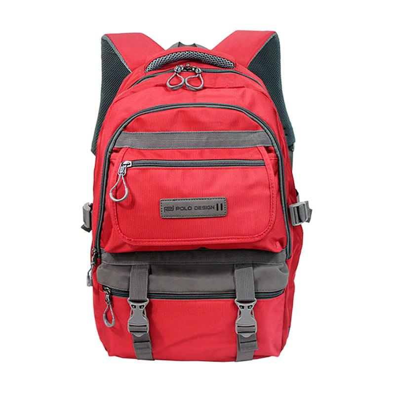 Polo Design Rain Cover Backpack Tas Pria QH 95001G - Red