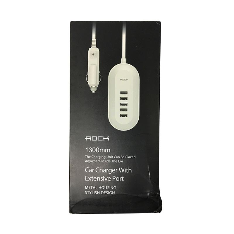 Rock Car Charger with Extension Port - White