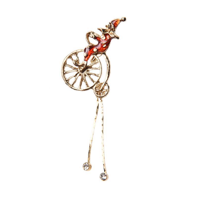 1901 Jewelry BR.2136.HR71 Clown Brooch - Merah