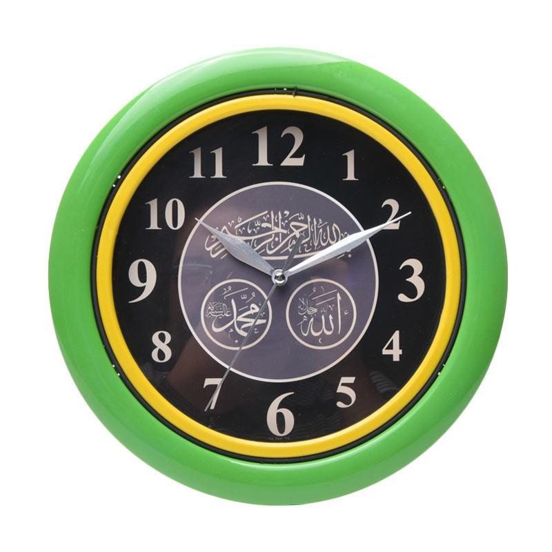 TJ ISL 25 Motif Kaligrafi Ring Jam Dinding - Green [25cm]