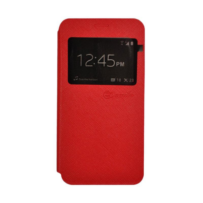SMILE Standing Flip Cover Casing for Oppo F1s - Red