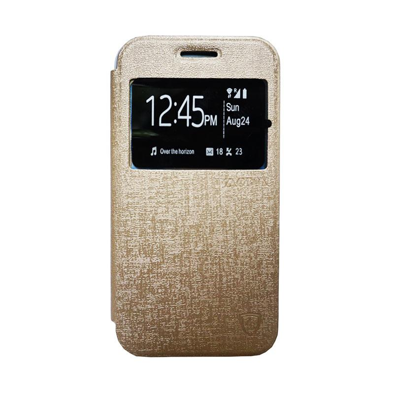 Zagbox Flip Cover Casing for Samsung Galaxy J1 Ace - Gold
