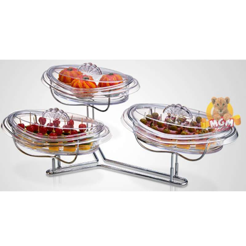 Piring susun 3 akrylic dgn Rak Stainless dessert tray