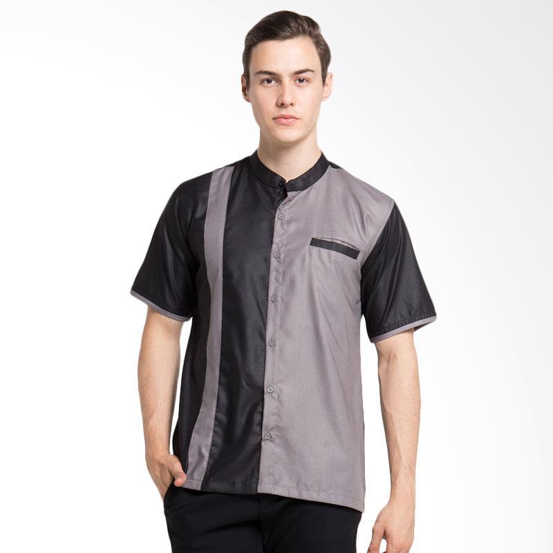 Allev Syahir Shirt Baju Koko - Black Grey