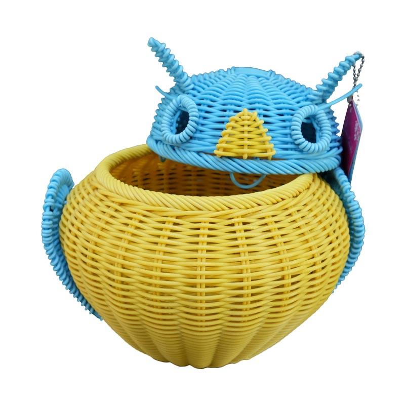 harga Ayumi Katsuko Owl Basket Rotan Sintetis Tempat Tisue - Kuning Biru Blibli.com