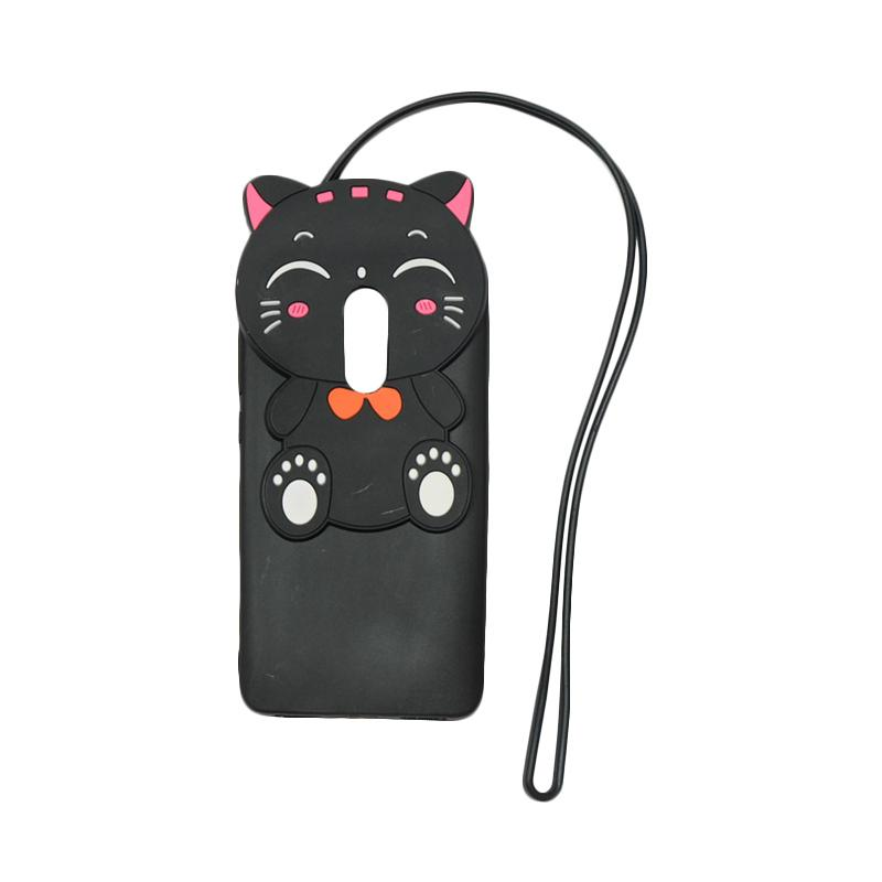 QCF Softcase 4D Silikon Case 4D Karakter Kucing Lucky Cat Edition Silikon Softcase with Kalung Tali Gantungan Casing for Xiaomi Redmi Note 4X - Black