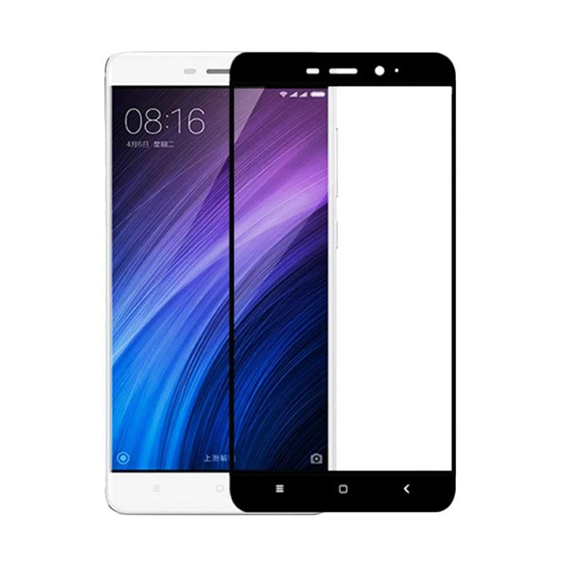 QCF Tempered Glass Warna Full Black Only Front / Depan Saja for Xiaomi Redmi 4A Screen Protector Anti Gores Kaca - Black