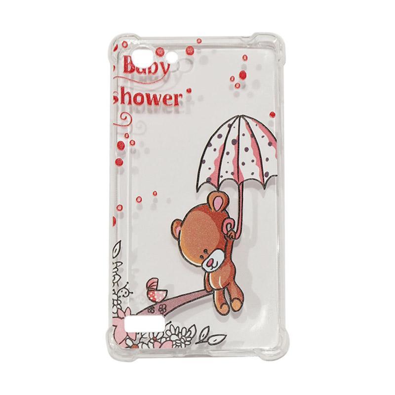 QCF Softcase Anti Crack Anti Shock Silicone Case Gambar Bear Baby Shower + FREE Bumper Karet Animasi Random for Oppo A33 / Neo 7