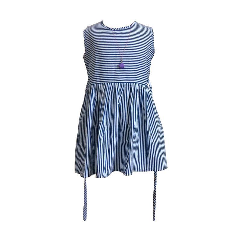 Kirana Kids Wear Raisa Dress Anak - Blue Stripe