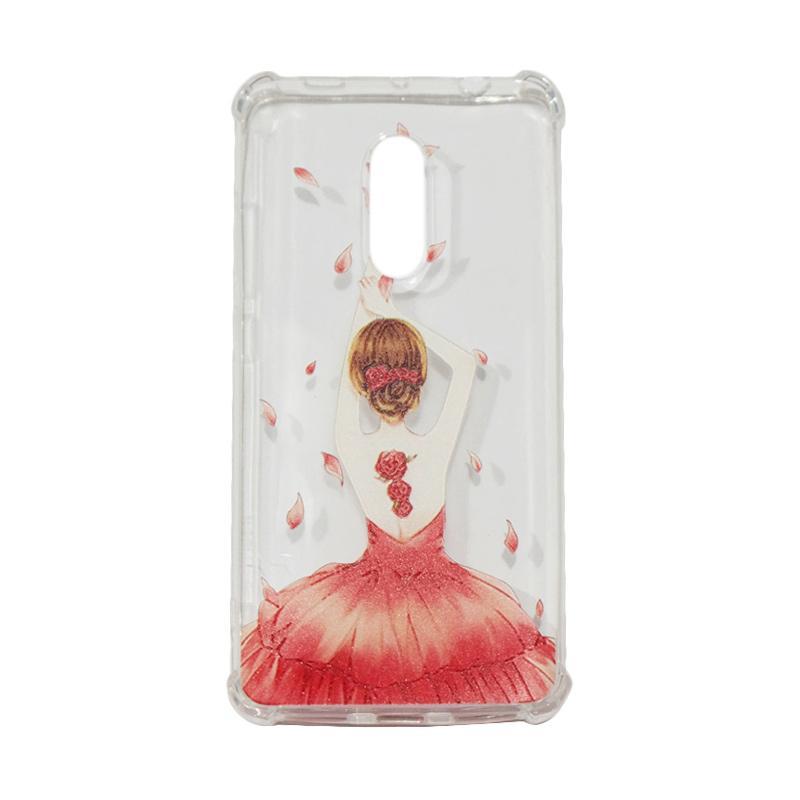 QCF Softcase Anti Crack Anti Shock Xiaomi Silicone Casing Gambar Wanita Gaun Merah + FREE Bumper Karet Animasi Random for Xiaomi Redmi Note 4