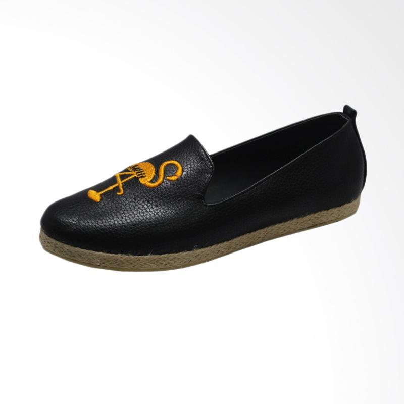 Indrico Flamingo Embroidery Sepatu Flat Wanita - Black