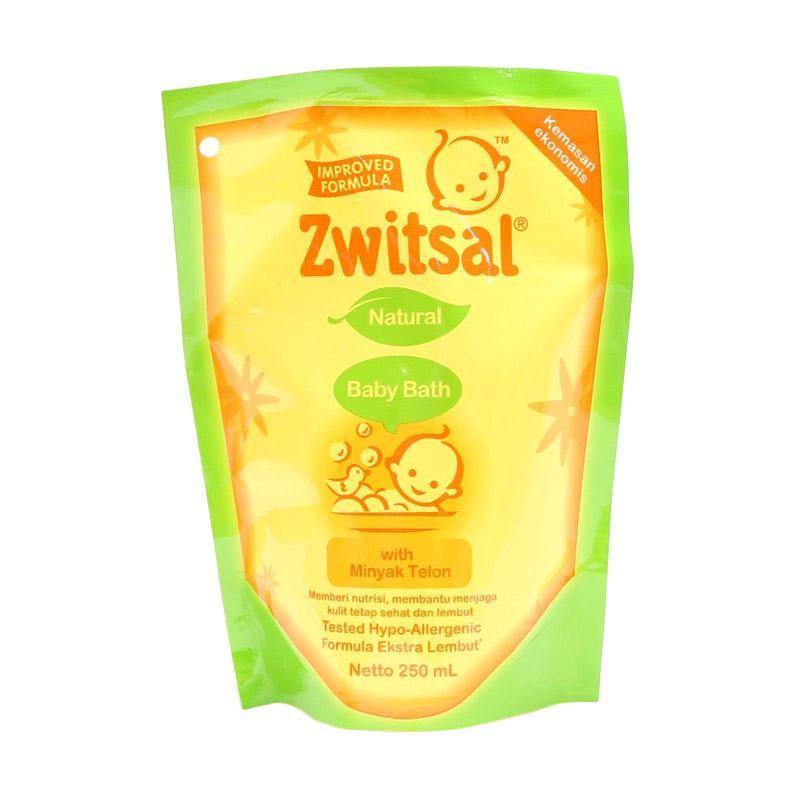 Zwitsal Natural Baby Bath with Minyak Telon Refill Pouch Sabun Cair [250 mL]