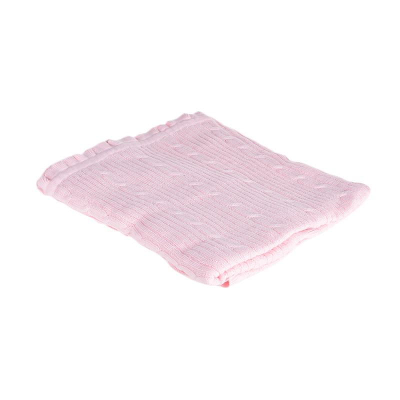 Browko Baby BCB-201017-189 Baby Blanket Rajut With Braided Line Outlook Selimut Bayi - Pink Muda
