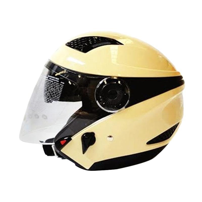 Zeus ZS-610K Polos Double Visor Helm Half Face - Ivory