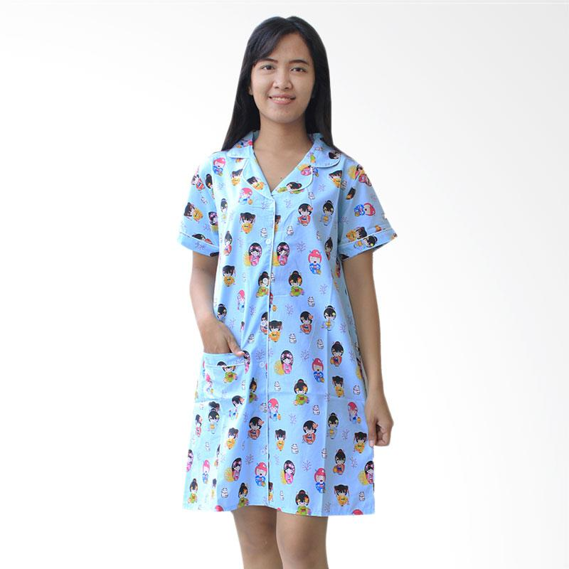 Aily DS005 Daster Wanita Geisha Girly Cartoon - Biru