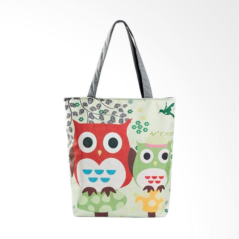 harga Lansdeal YHL60805182A Owl Printed Canvas Casual Beach Women Tote Bags Blibli.com
