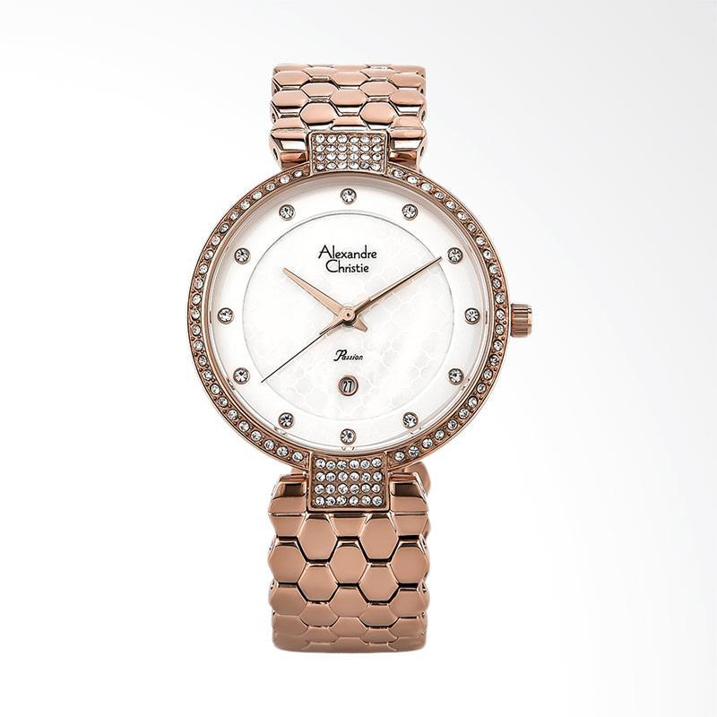 Alexandre Christie AC 2686 LD BRGSL Ladies White Dial Stainless Steel Jam Tangan Wanita - Gold