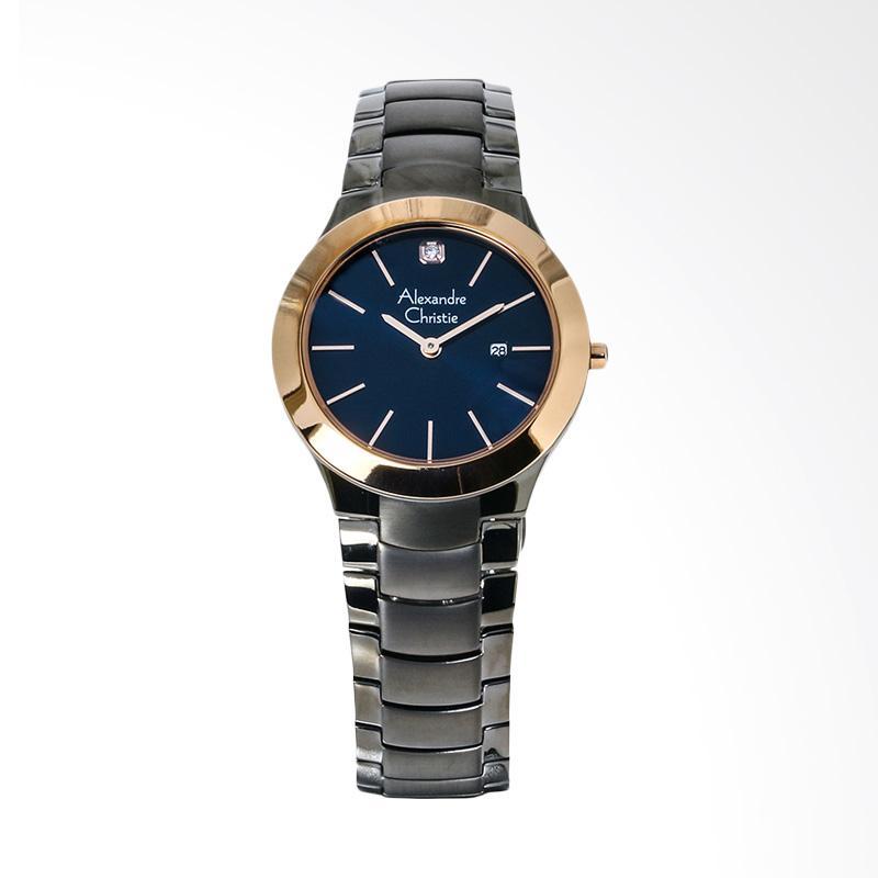 Alexandre Christie AC 8028 LD BGRBU Ladies Blue Dial Stainless Steel Jam Tangan Wanita