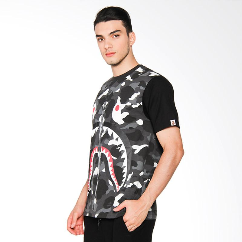 A Bathing Ape City Camo Big Shark Tee Kaos Pria - Black