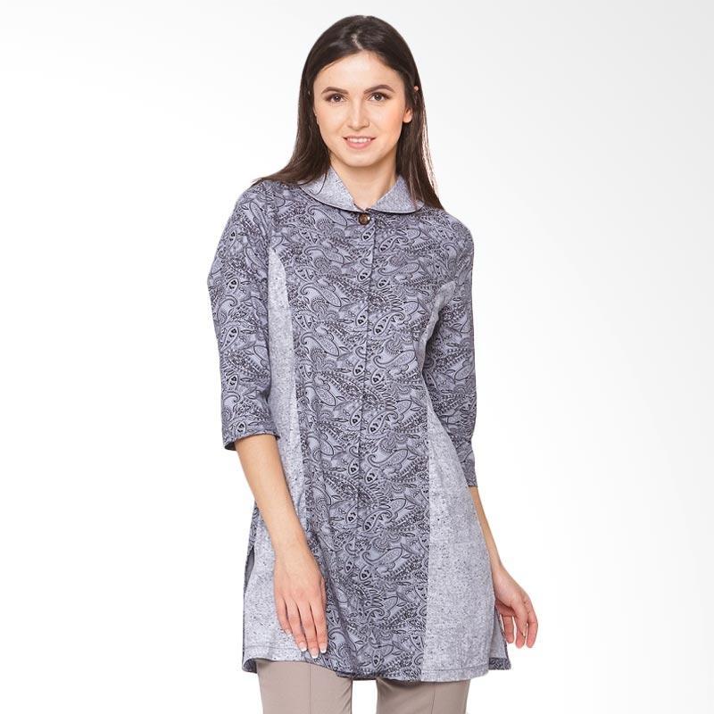 A&D Fashion Ms 810 Ladies Tunic Batik Blouse Wanita - Grey