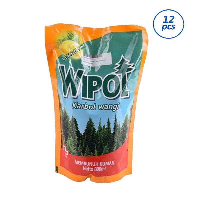 WIPOL Karbol Wangi Lemon Pine Pouch Cairan Pembersih Lantai [800 mL/12 pcs] 62040785