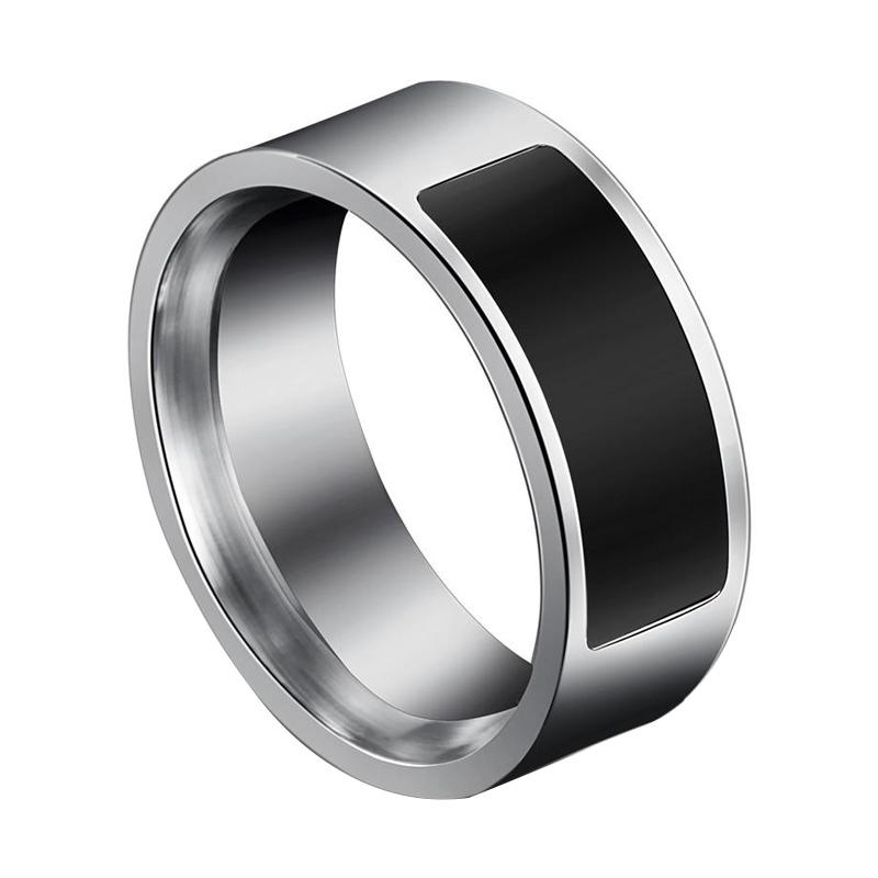 IIT Touch Health Protection Titanium Steel Waterproof Two-chip NFC Men  Smart Ring - Black [Size 7/ 6-14 Yard]
