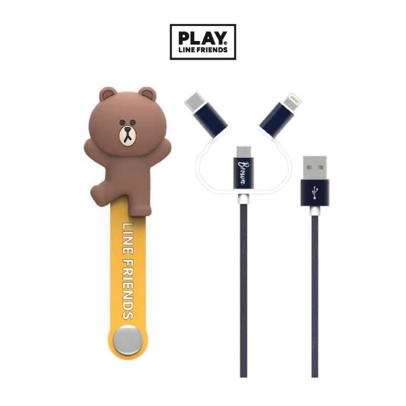 532179 LINE FRIENDS 3 IN 1 CABLE BROWN