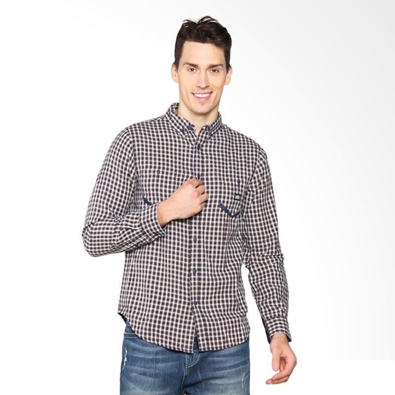 3SECOND Double Pocket Chequered Shirt - Blue 108041711
