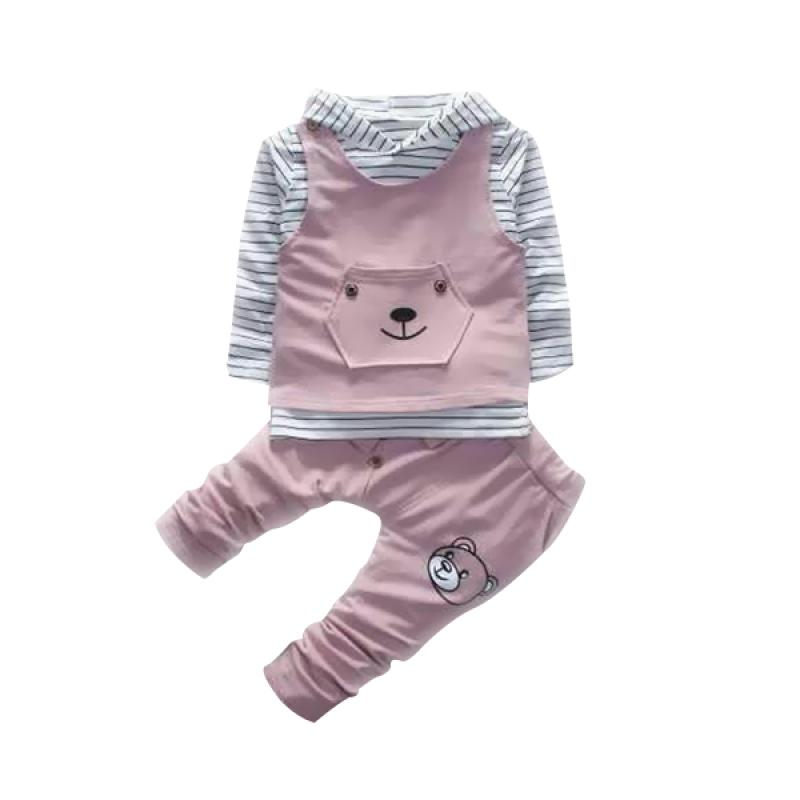 Chloebaby Shop 3in1 Bear F970 Setelan Baju Anak Perempuan - Pink