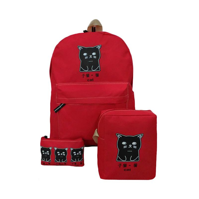 Bag & Stuff The Cat 3in1 Bag Set Tas Wanita - Merah
