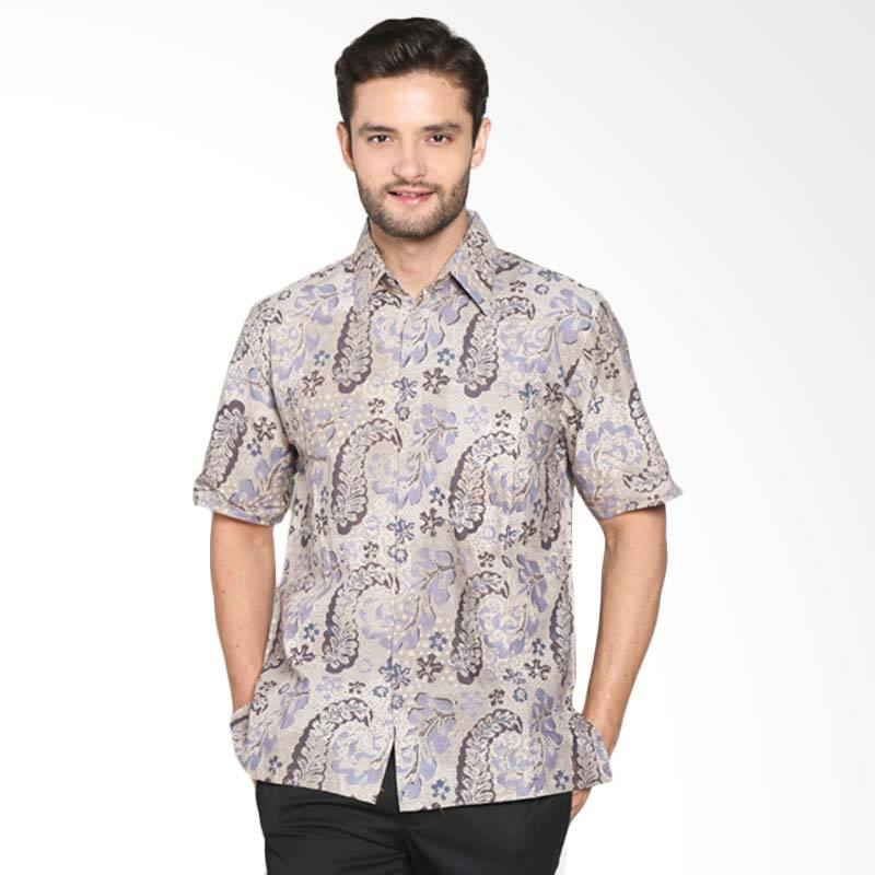 Blitique Bugisan Abtrak Kemeja Batik Pria - Coklat BGSN125C