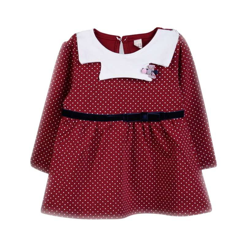 Chloebaby Shop F976 Polkadot Dress - Red
