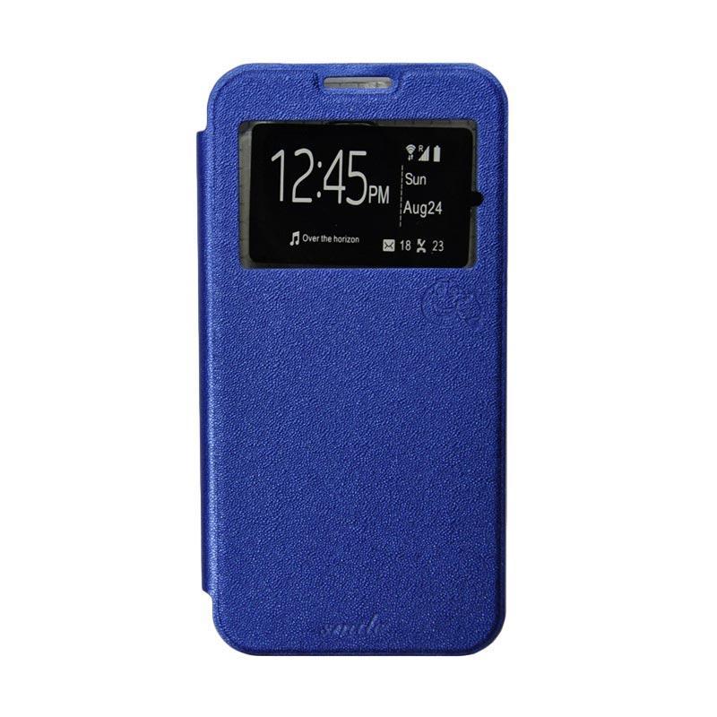 Smile Flip Cover Casing for Asus Zenfone 5 - Biru Tua