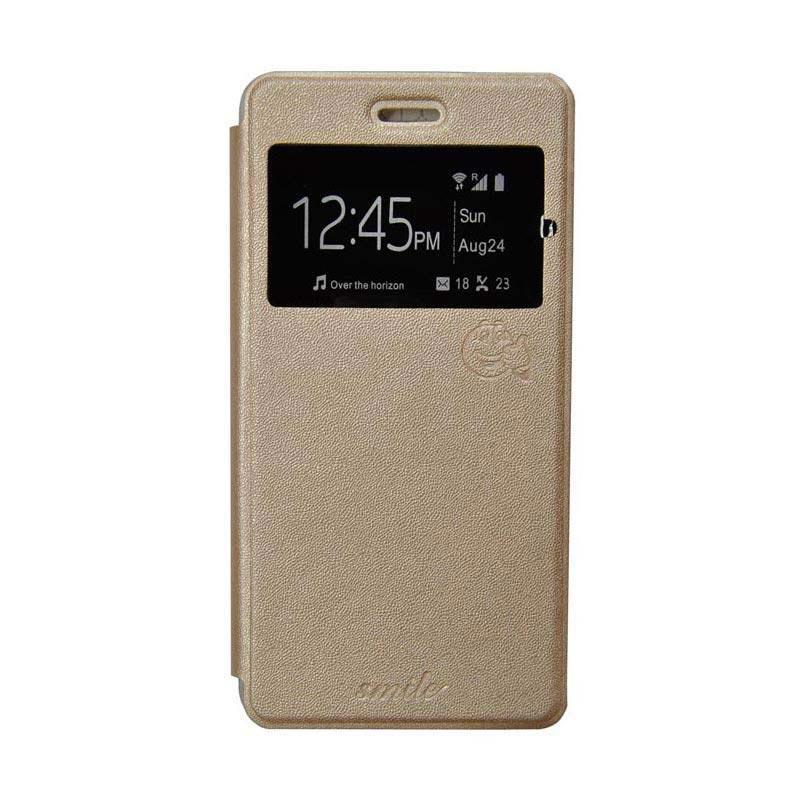 Smile Flip Cover Casing for Asus Zenfone Go ZB551KL 5.5 Inch - Gold