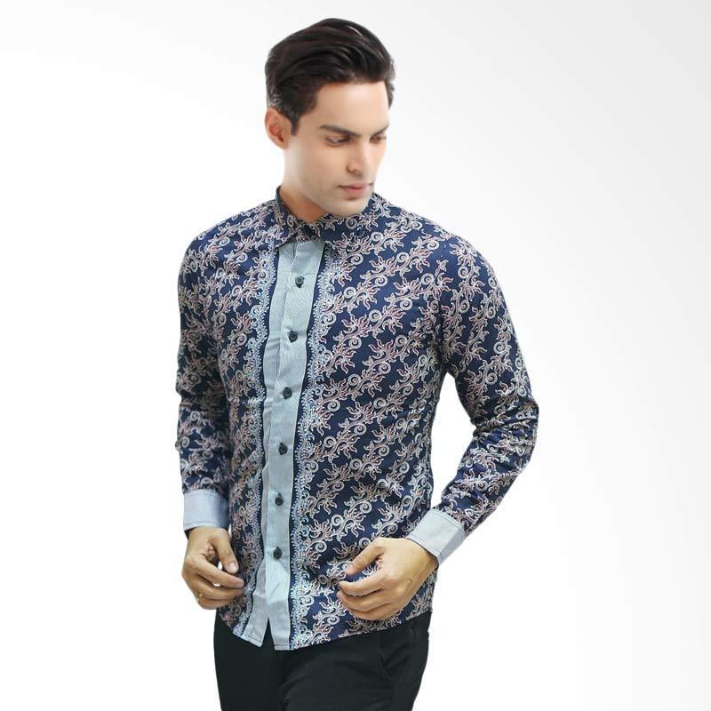 Jual Hype Box Batik Pria Lengan Panjang  Biru Dongker Online