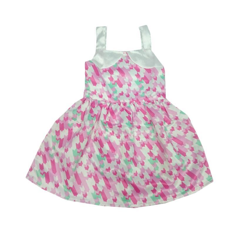 Tiny Button Satin Pink Dress Anak