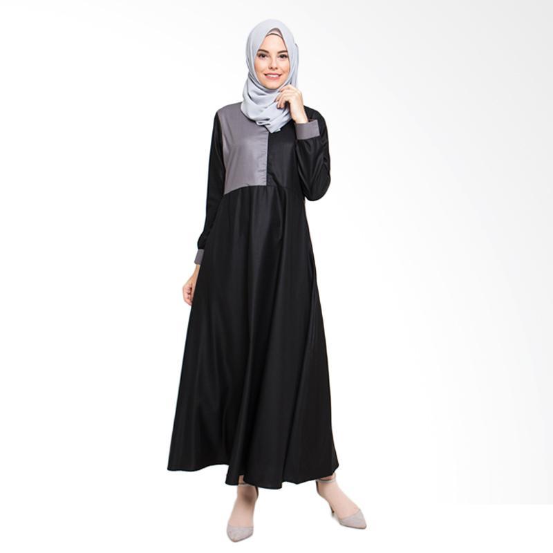 harga Allev New Alila Dress Muslim Wanita - Hitam Abu Blibli.com