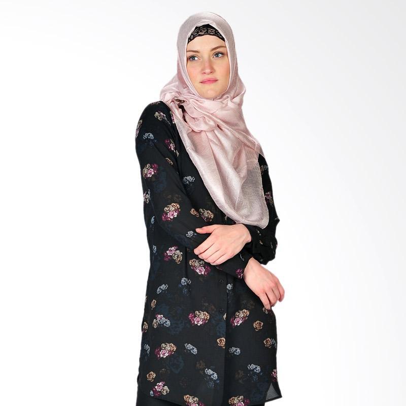 SJO & SIMPAPLY Laquila Flower Tunik Muslim - Black