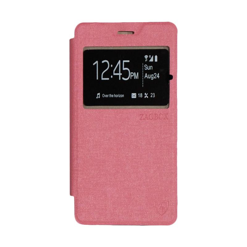 ZAGBOX Flip Cover Casing for Lenovo A6600 - Pink