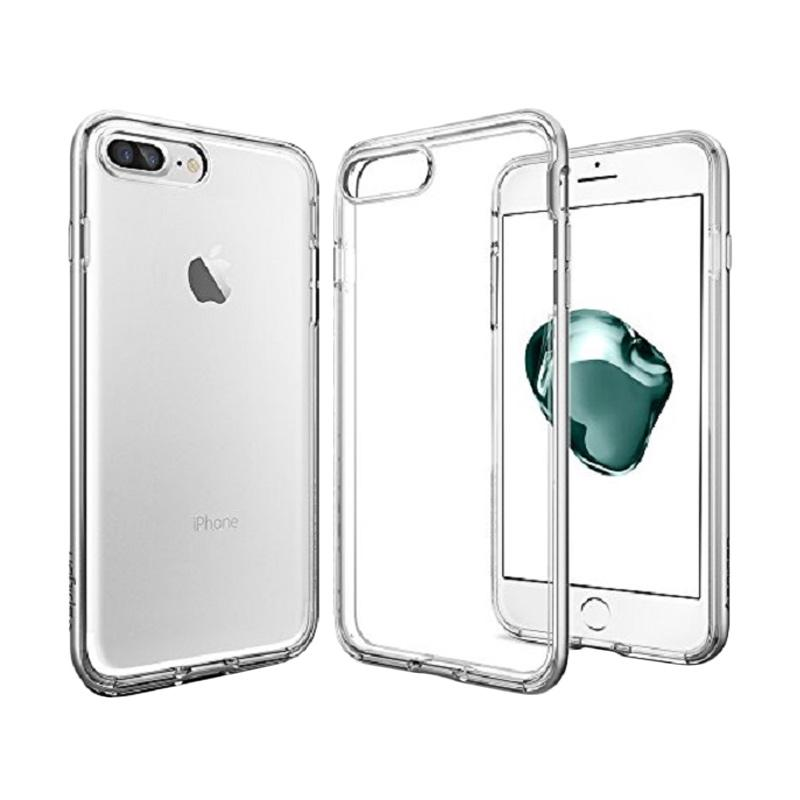 Spigen Neo Hybrid Crystal with Flexible and Hard Bumper Frame Casing for iPhone 7 Plus 2016 - Satin Silver