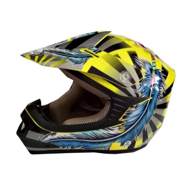 harga Snail Helmet Motif Indian MX306 Youth Helm Motocross Anak - Kuning Biru Blibli.com